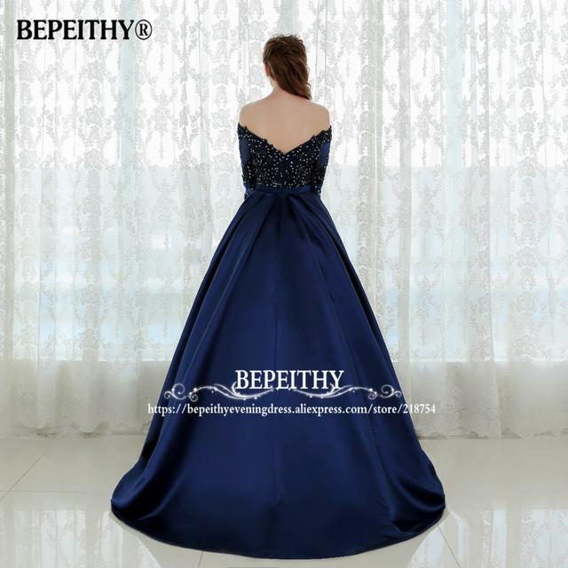 Graceful Long Sleeves Evening Dress Vestido De Festa Longo Beaded Ball Gown Lace Prom Dresses Robe De Soiree