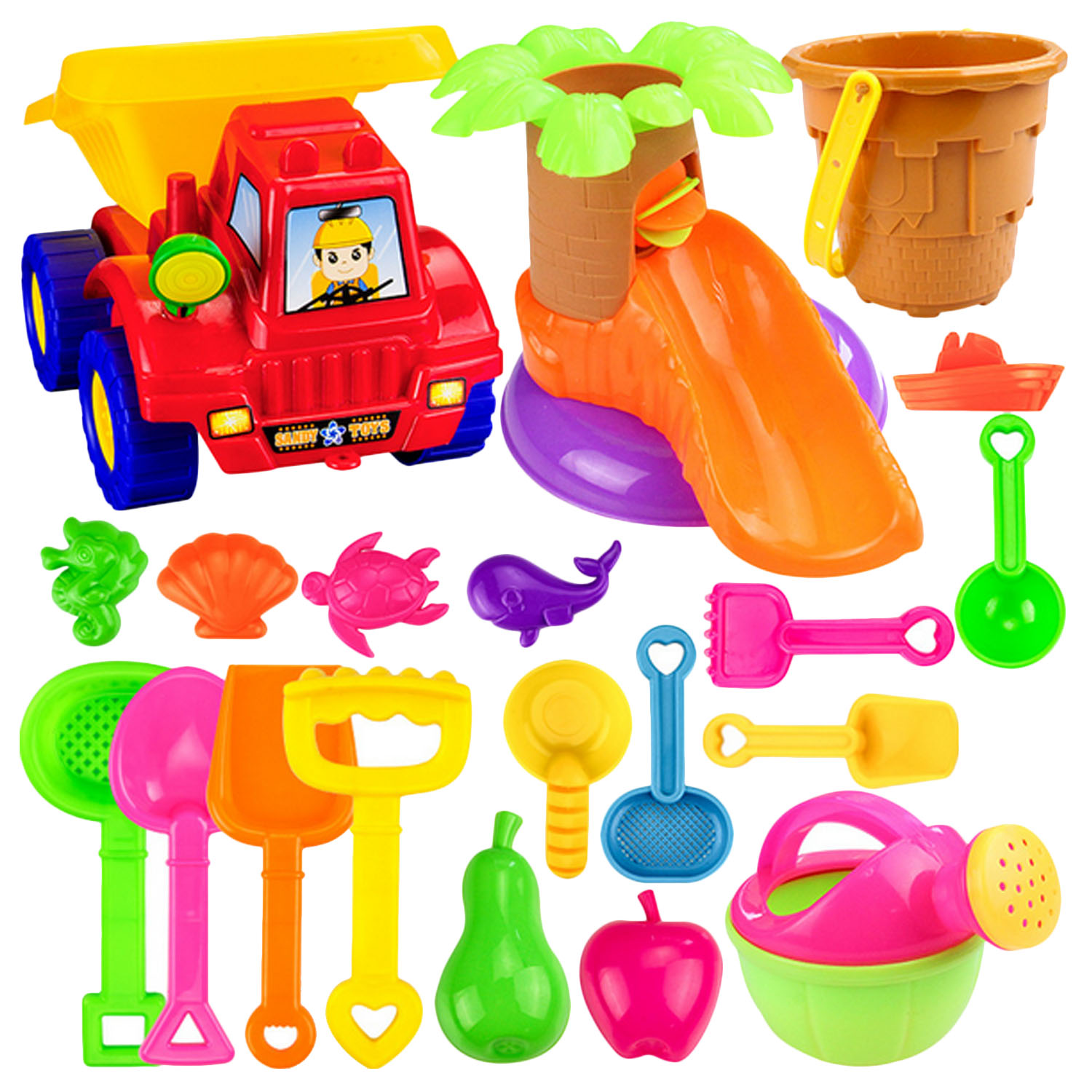 20pcs Kids Beach Sand Sandbeach Set Including Truck Castle Bucket Spade Shovel Rake Mini Sliding Watering Can Sand Mold Toy