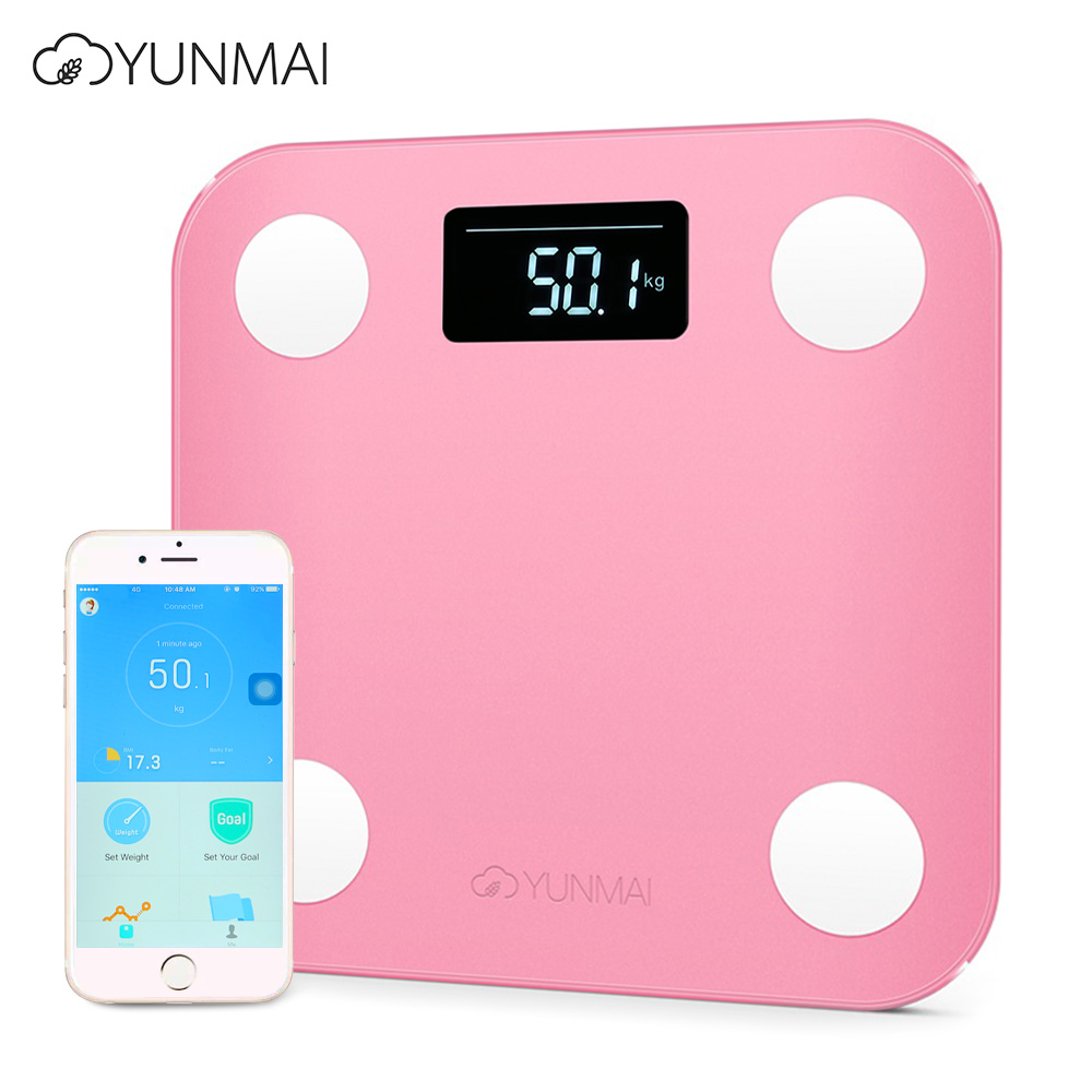 YUNMAI Mini Smart Body Fat Electronic Digital Weight Scale Body Fat smart scale Bluetooth 4.0 digital scale LED Display baby kids adult smart body fat intelligent weight scale electronic lcd digital app control analysis weight scale weighing tool
