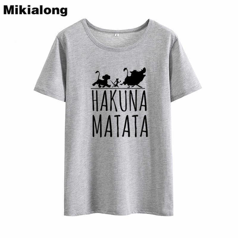 Mikialong Hakuna Matata Kawaii Забавные футболки женские 2019 летние хлопковые женские футболки с коротким рукавом повседневные футболки Femme