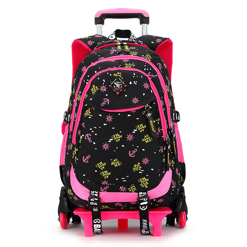 Children Trolley Backpack School Bags For Grils Wheeled Bag Students Removable Nylon Orthopedic Backpacks for teenagers