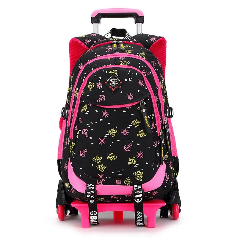 Дети тележка рюкзак Школьные ранцы для девочек Сумка на колесах студентов Съемный нейлоновый ортопедические Рюкзаки для подростков Mochila