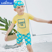 SABOLAY Separate Children's Short Sleeved Summer Kids Swimwear Rash Guards Quick Dry Beach Surfing Boys Girls Bathing Swimsuit