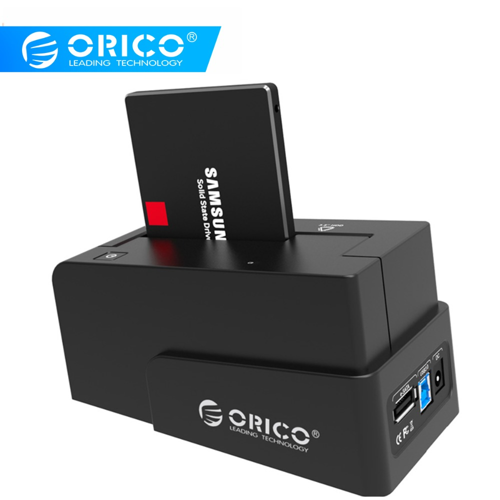 ORICO 2.5/3.5 Inch External Hard Drive Docking Station Super Speed USB3.0 & ESATA HDD Case With 12V Power Adapter HDD Enclosure