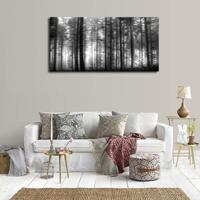 Large Wall Art Print Foggy Forest Black and White Canvas Painting Woods Big Trees Nature Picture for Home Office Wall Decor Gift