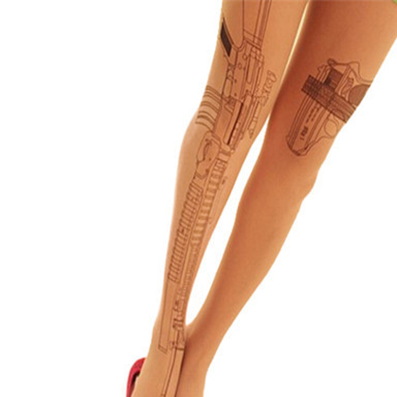 New Arrivals Machine Gun Tattoo Transparent Tights Stockings Pantyhose Women Fashion Clothing Accessory Free Shipping