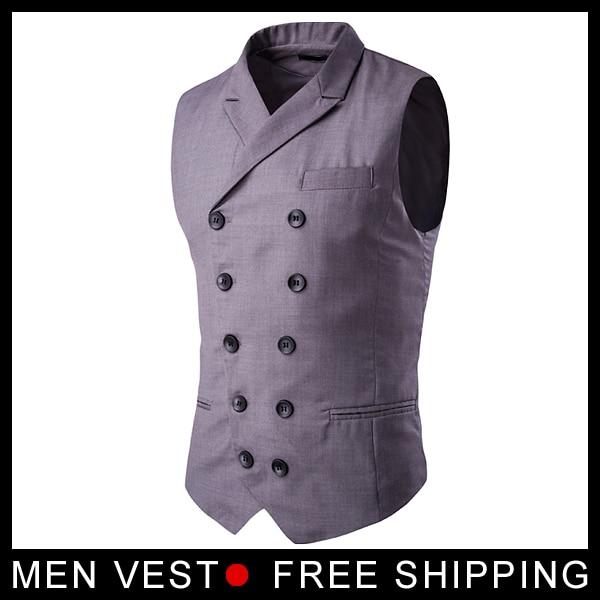 Lacivert Siyah Gri Erkek Yelek Kruvaze Yüksek kaliteli Erkek Takım - Erkek Giyim - Fotoğraf 4