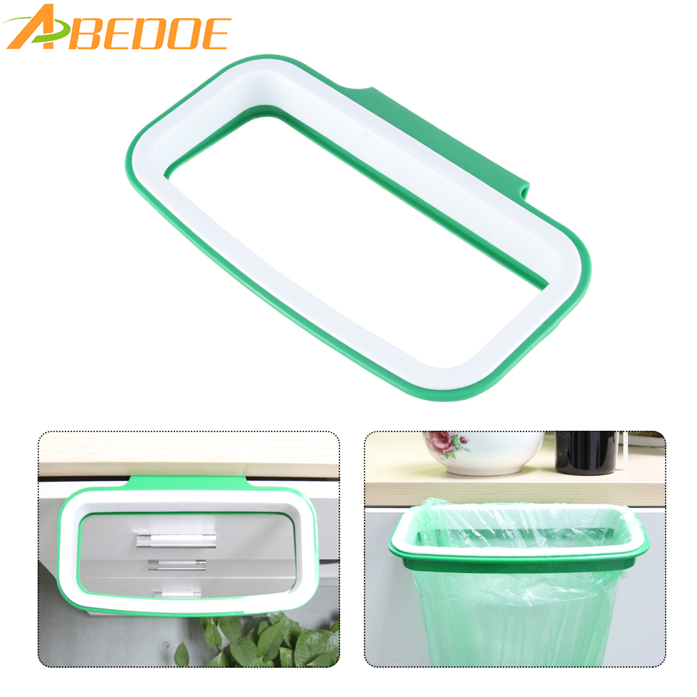 1 PC Hanging Storage Bucket Kitchen Door Back Trash Rack Holder Storage Waste Bag Garbage Bin Convenient Trash Can