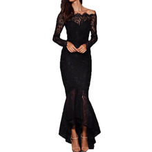 2018 Fashion women design evening party dress black and white Off shoulder long sleeve Fish tail floor length lace robe