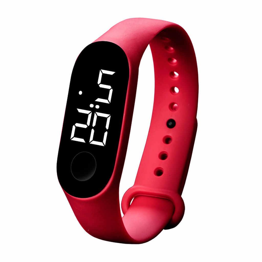 GEMIXI Sport montre LED électronique verre miroir lumineux étanche tactile montre en plastique bracelet mode hommes et femmes montres MAY30
