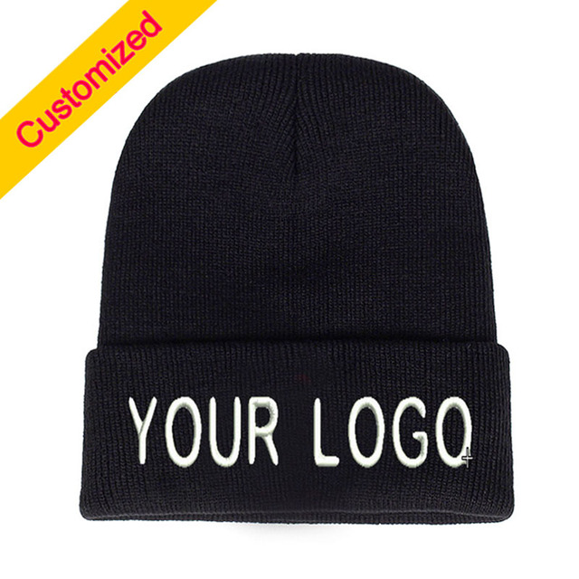1990308cfcde0 Personalized Beanie Hat Skullie Cap Slouchy Winter Autumn Embroidery Logo  Choose Your Quote Name Design Text Style Thread Color-in Skullies   Beanies  from ...