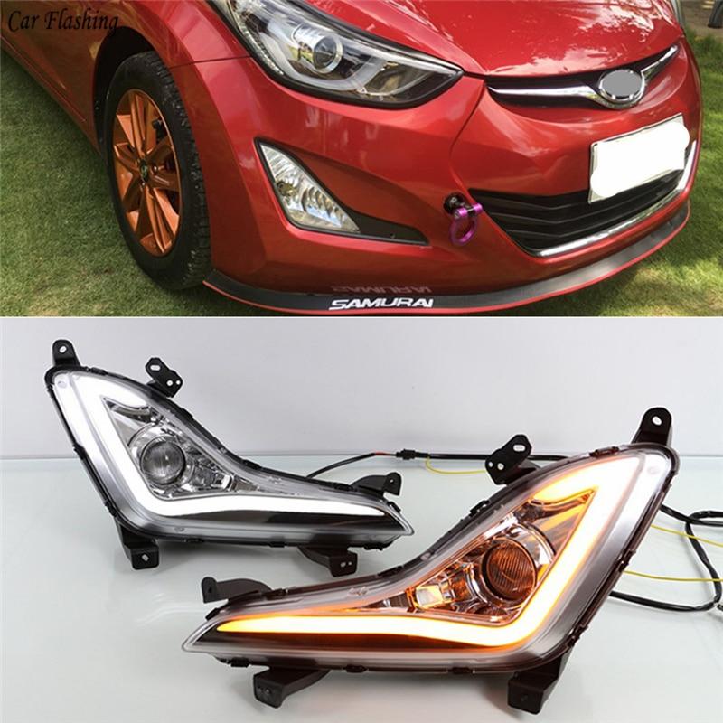 Car Flashing 2Pcs LED DRL Fog Lamps Cover Daytime Running Light Daylight With Turn Signal Yellow For Hyundai Elantra 2014 2015