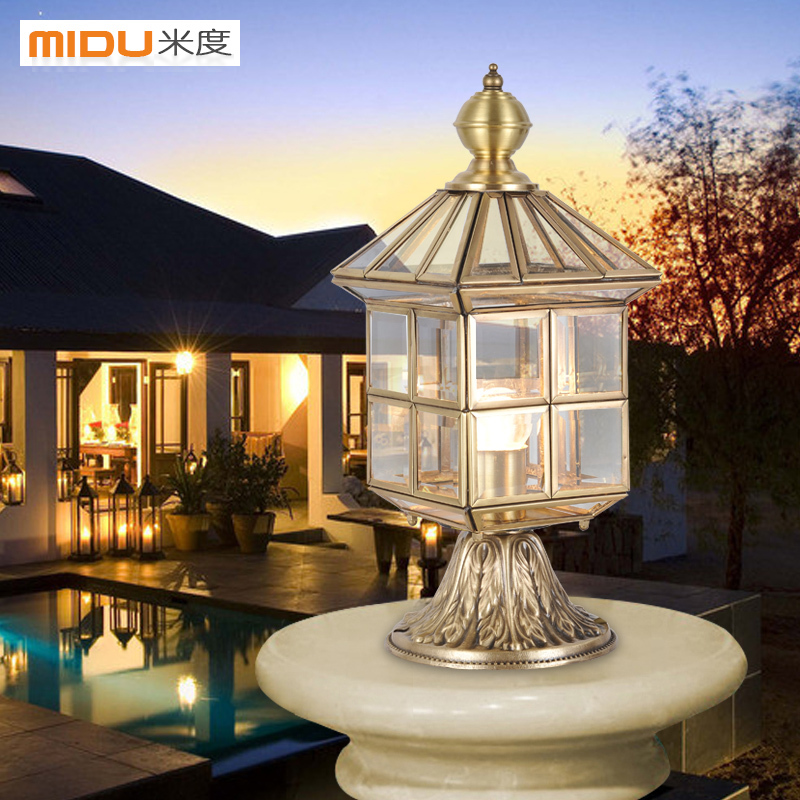 ... [Mido] European All Copper Lamp Post Lights, Outdoor Lights Walled  Garden Patio ...