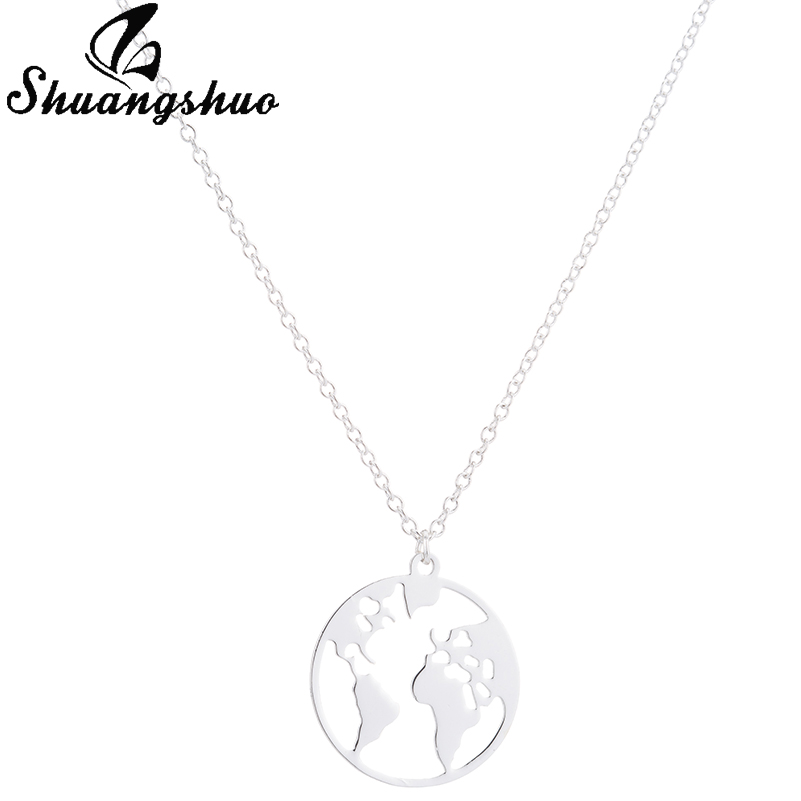 Shuangshuo Vintage Origami World Map Necklace Women Geometric Necklace Round Necklace Circle Necklaces & Pendants Choker Jewelry 10