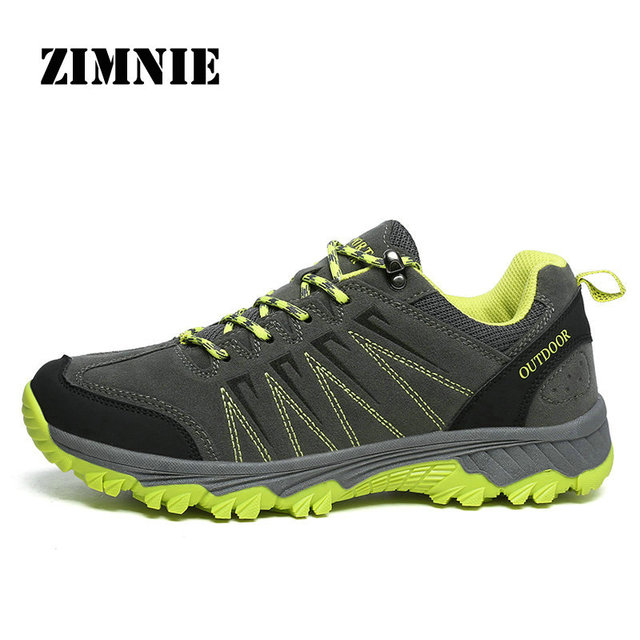 ZIMNIE Men Hiking Shoes Nubuck Climbing Shoes Waterproof Outdoor Trekking Sneakers Unisex Pu Leather Mountain Shoes Size 36~45