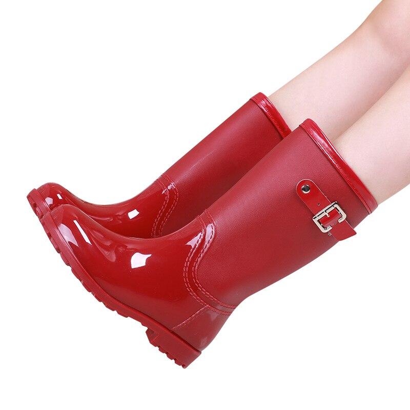 Rouge Solide Caoutchouc Botas Dames En black Eau Boucle Chaussures Rainboots Mode Bottes Pluie red khaki Mujer Respirant De Imperméables Couleur Femmes White Qualité rrFq4g