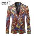 OSCN7 Red Chinese Style Printed Blazer Men Slim Fit Leisure Notch Lapel Blazer Masculino Plus Size Casual Blazer Designs M-3XL