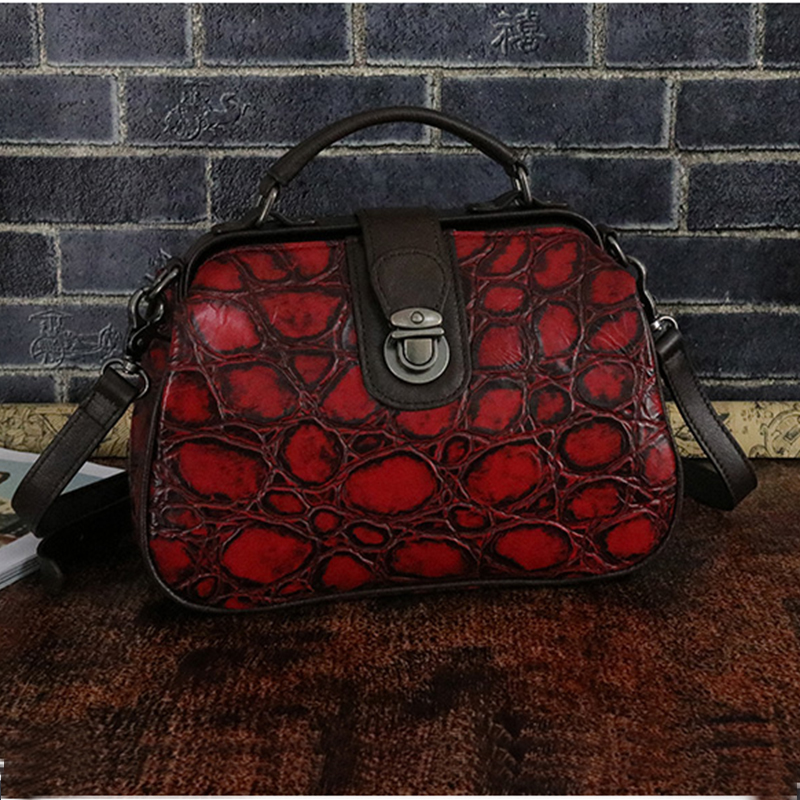 Genuine Leather Women Cross Body Messenger Tote Handbag Real Cowhide Money Purse Pouch Retro Female Shoulder Top Handle Bags real genuine leather women single shoulder bag small cross body satchel ladies messenger bags famous brand cowhide tote handbag