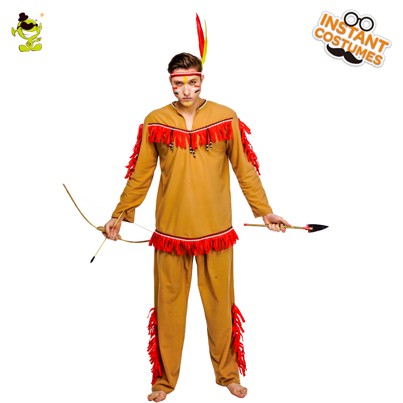 Men Indian Man Primitive Tribe Costume Carnival Party Adult Male Cosplay Outfits Clothing Halloween Costumes