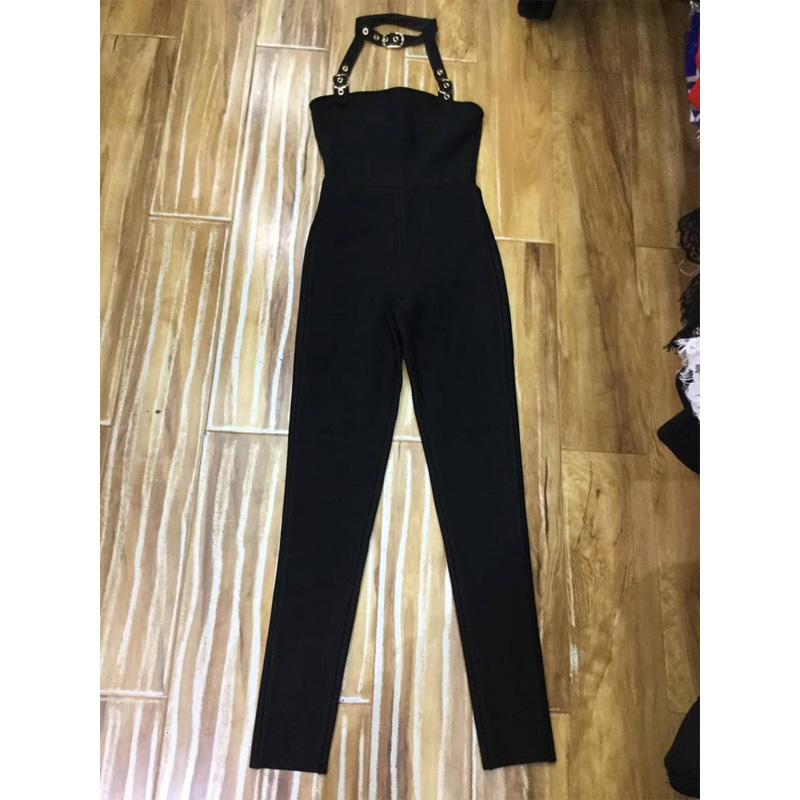 2018 New Arrive Fashion Black Women Jumpsuit Summer Sleeveless Halter Sexy Hollow Out Bodycon Celebrity Evening Party Jumpsuits