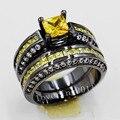 Виктория Вик Любители Обручальное 6 мм Желтый Топаз Моделируется Алмазов 10KT черное Золото Заполненные 2 обручальное Кольцо Устанавливает Sz 5-11 подарок