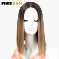 FREEDOM Straight Synthetic Hair Lace Front And T Part Wig 14 Inch Wigs Ombre Wigs Colors Choice Cosplay Wig Free Shipping