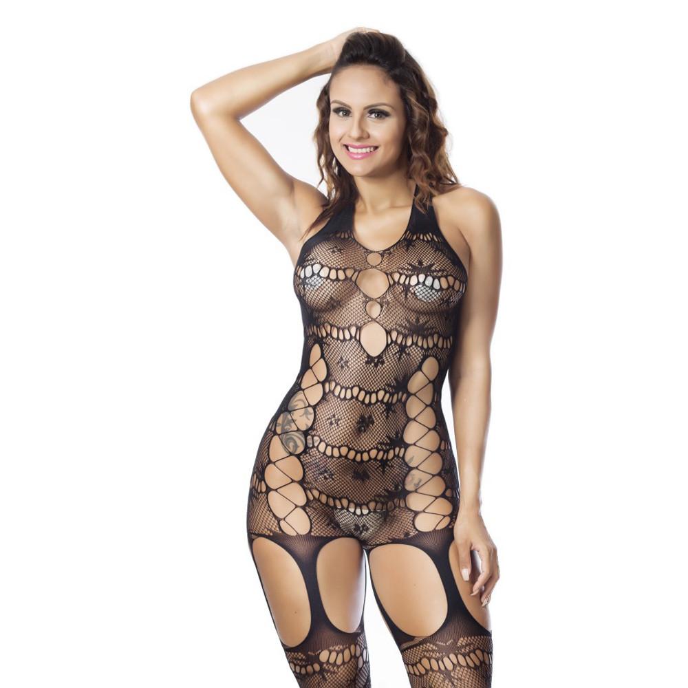 Sexy Lingerie Woman Sheer Mesh Lace Fishnet Bodystockings Babydoll Backless Open Crotch Body Suit Nightwear Underwear Black