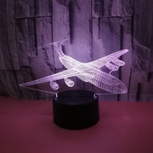 Светодиодный 3d-ночник самолет с 7 цветами света для украшения дома лампа потрясающая визуализация Оптическая иллюзия