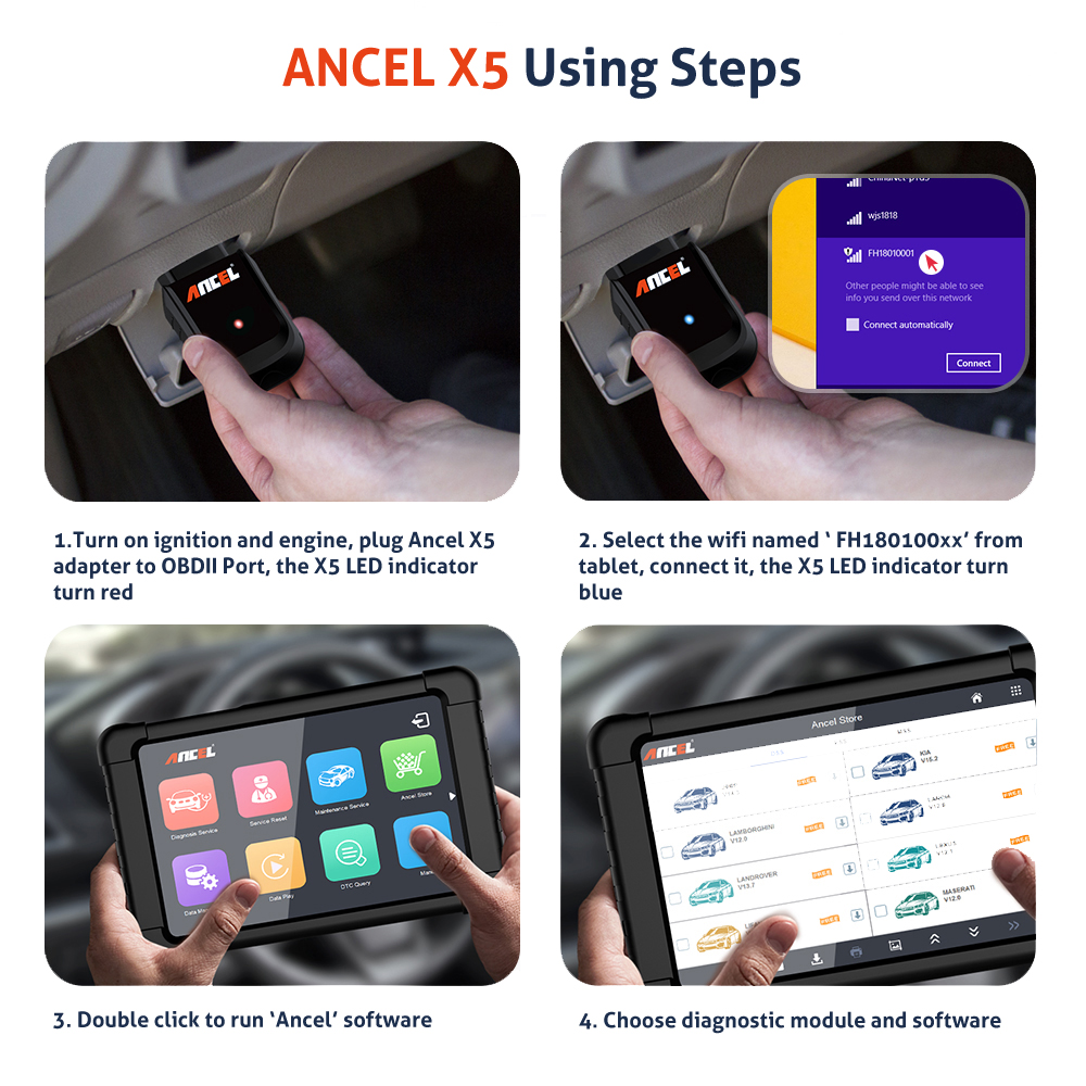 Image 5 - Ancel X5 Wifi Professional Automotive Scanner Full System Car Diagnostic Tool Oil EPB ABS SRS Rest Scanner OBD2 Auto Scanner X5 on