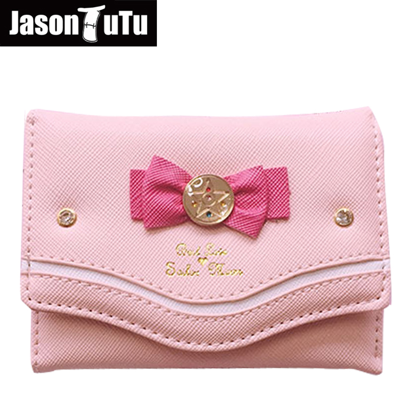 2018 Sailor Moon Wallet Women Lady Short Wallets Female Candy Color Bow PU Leather for Card Purse Clutch Bag New Promotions hot sale women lady long wallets purse female candy color bow pu leather carteira feminina for coin card clutch bag