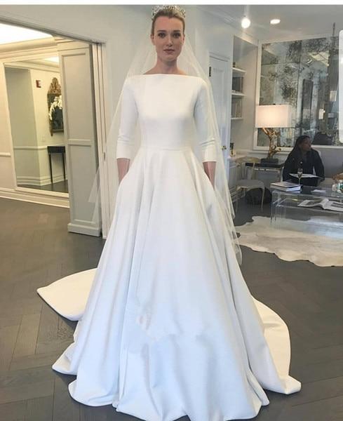 Vintage Three Quarter Length Wedding Dresses: A Line 2019 Wedding Dresses With Three Quarter Sleeve New