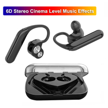 X6 TWS Wireless Bluetooth 5.0 Headset Earbuds 6D Stereo Deep Bass Ear Hook Headphones IPX7 Waterproof Earhook Earphone with Mic