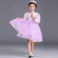 Girls Autumn Winter Princess Costume Wedding Dress Child Kids Clothing Purple Mesh Lace Flower