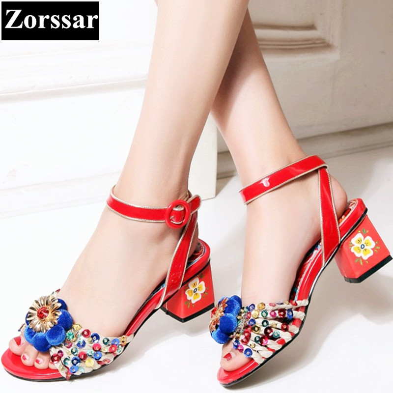 2017 Summer Womens ankle strap shoes peep toe rhinestone High heel sandals Fashion Print Ethnic style women Wedding shoes fashion women ankle strap shoes pumps shoes womens rhinestone high heel sandals red blue 2017 new arrival woman summer shoes