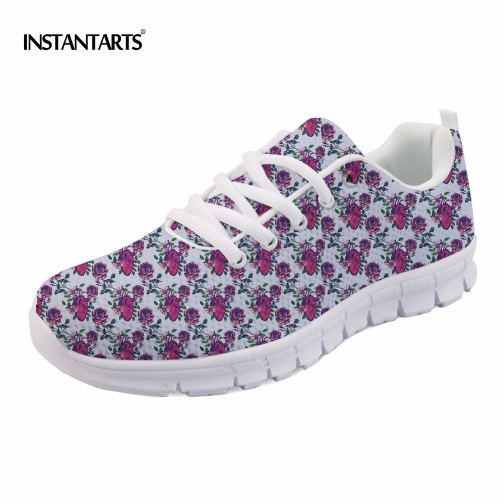 INSTANTARTS 2018 New Fashion Women Casual Flats Anatomical Hearts Pattern Air Mesh Sneakers Breathable Female Flat Shoes Woman instantarts casual women s flats shoes emoji face puzzle pattern ladies lace up sneakers female lightweight mess fashion flats