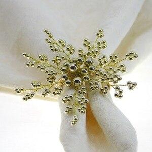 Image 3 - Gratis verzending parel servetring kralen servet houder voor wedding vele kleuren 12 stks