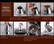 Stovetop Espresso Maker Stainless Steel Moka Pot Coffee Maker 100/200/300/450ML Coffee Pot Stovetop Tool Percolator Cafetiere