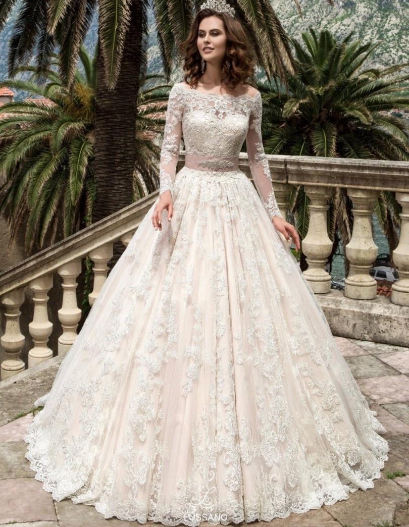 Lace Vestido De Noiva 2018 Muslim Wedding Dresses A-line Long Sleeves Appliques Lace Dubai Arabic Wedding Gown Bridal Dresses