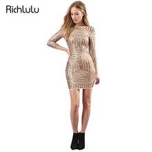 RichLuLu Sexy Gold Party Club Women Dress Ukrain Sequin High Waist O-Neck Stripe Pencil Dress There Quarter Sleeve Mini Dress