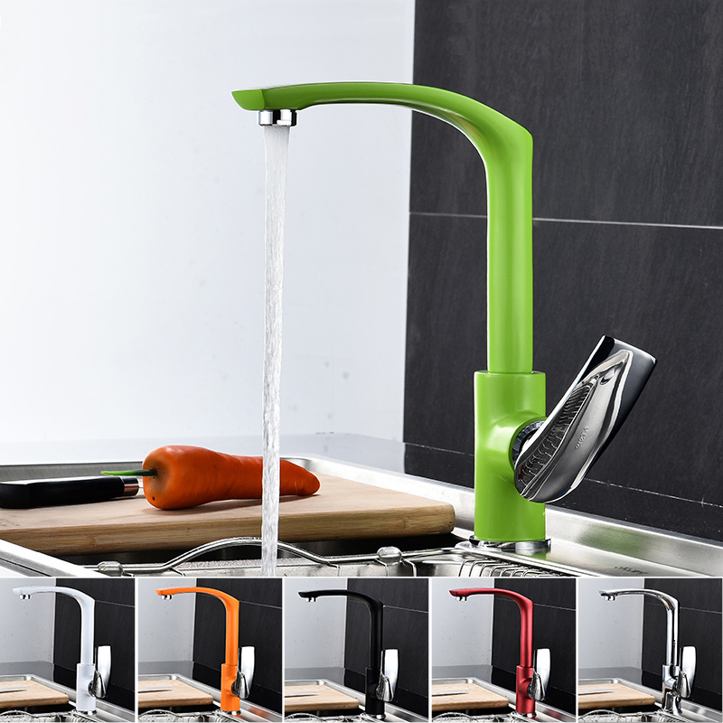 Kitchen Faucet 6 Colors Brass Kitchen Sink Faucet Copper Swivel Kitchen Sink Mixer Tap Crane Faucet Hot and Cold Cocina Torneira