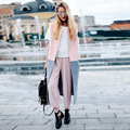 2016 New Autumn Winter Coats Long Sleeveless Cardigan Vest Women Basic Coats Patchwork Work Coat Ladies Casual Woolen Warm Coats