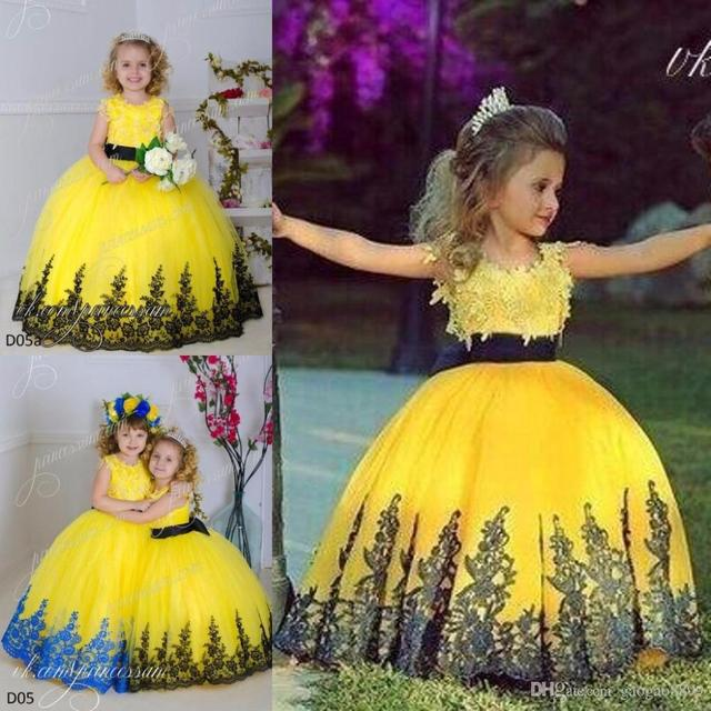 Black purple and yellow girls dresses