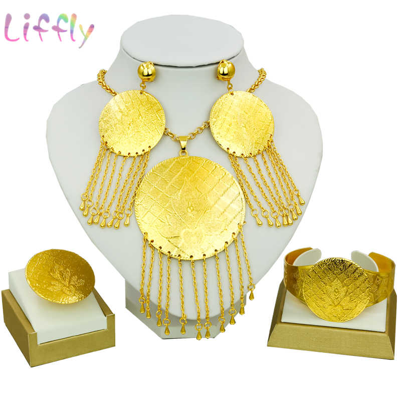 African Jewelry Sets Indian Flying Cake Tassel Necklace Earrings Ring Bracelet Nigeria Jewelry Sets Popular Female Classic