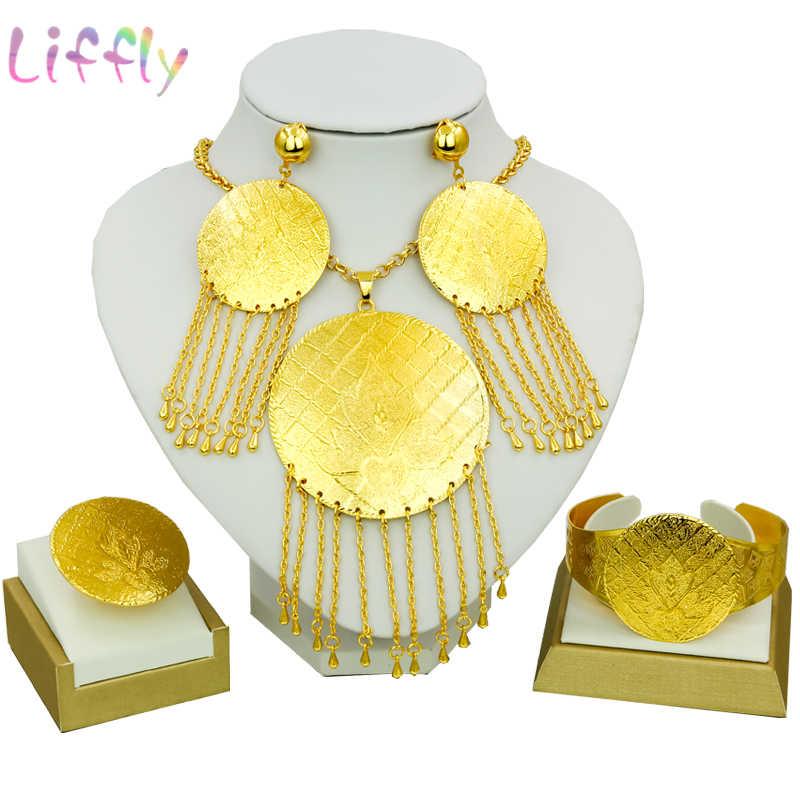 Afrikanischen Schmuck Sets Indische Fliegen Kuchen Quaste Halskette Ohrringe Ring Armband Nigeria Schmuck Sets Beliebte Weibliche Klassische