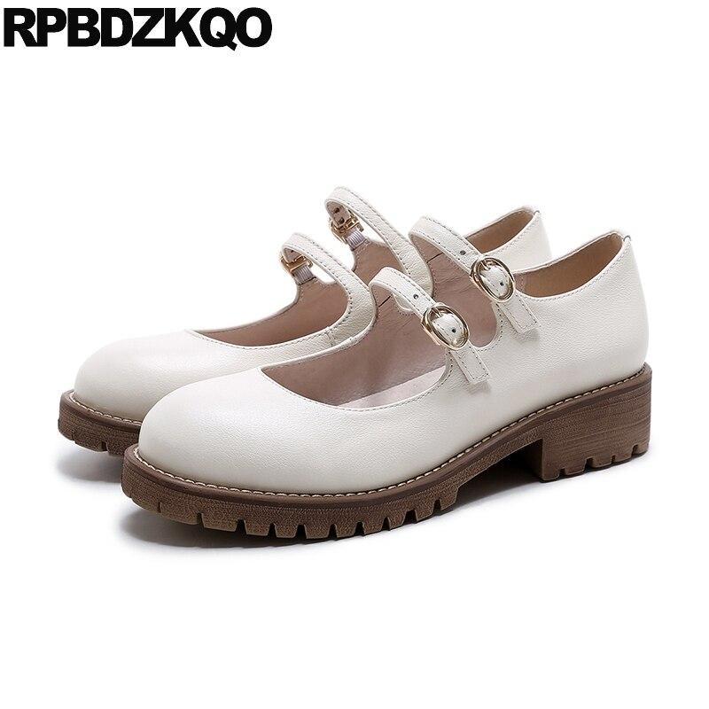Women Round Toe 2017 White Platform Plain Mary Jane Ladies Beautiful Flats Shoes Low Heel Genuine Leather Japanese Latest Drop цены онлайн