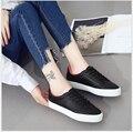 2017 весна Повседневная Обувь Женщина плоские Туфли Женщина Моды Платформы Студент кожаные ботинки холстины