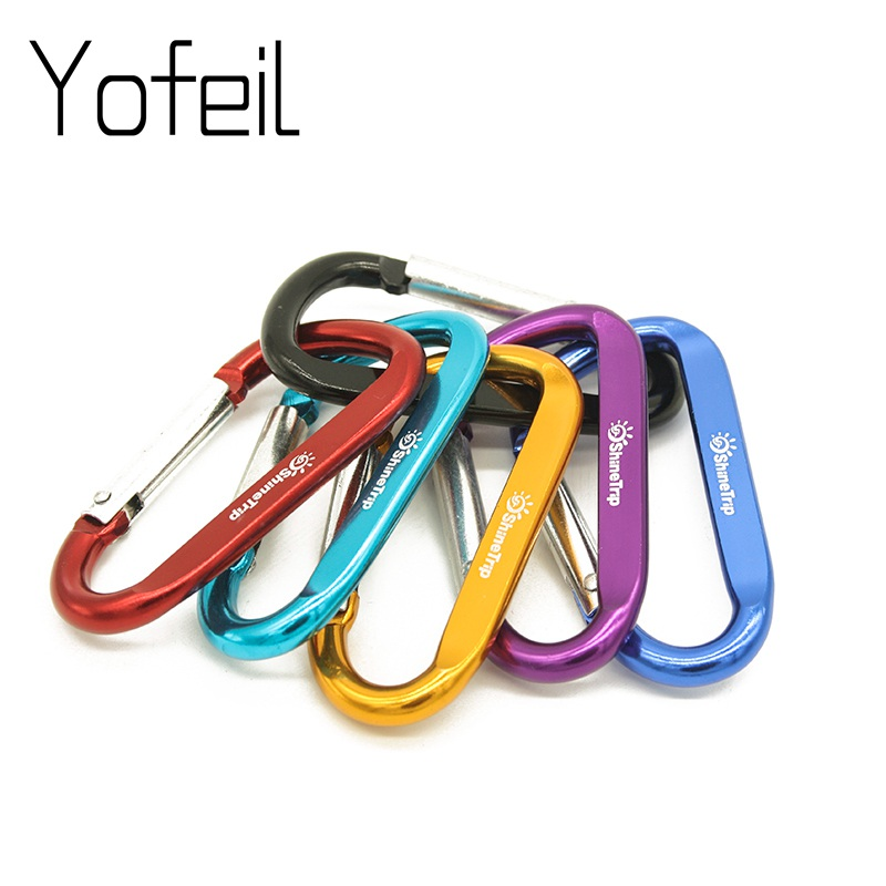 1 Pc Aluminium Alloy D Shape Buckle Carabiner Survial Key Chain Climb Carabine Clip Camping Equipment Backpack Buckle Keychain