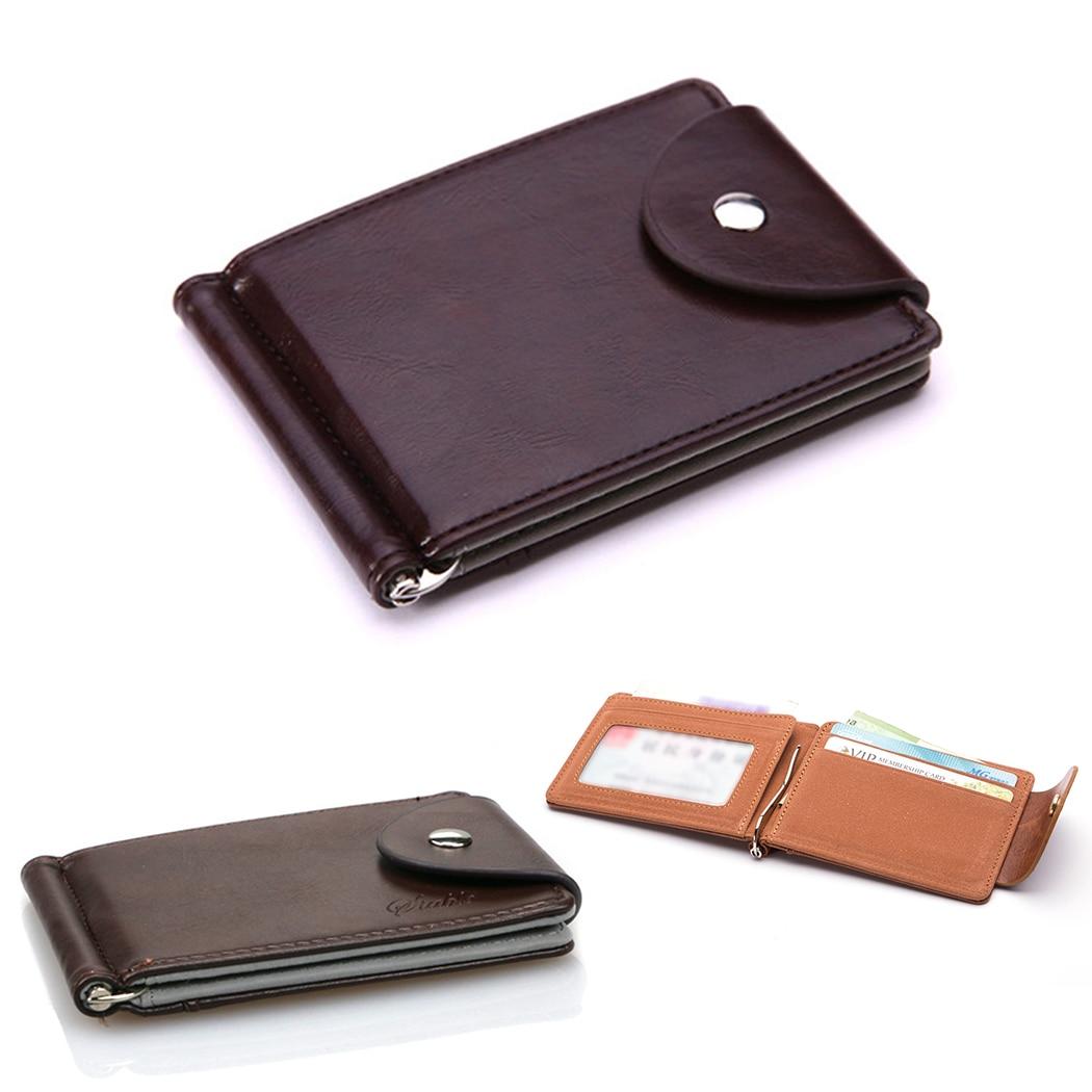 Men Wallets Leather Money Clips Purse Coin Zipper Pocket Slots Magnet Money Bag Clamp For Money Card Hasp Clips Vintage Wallet money