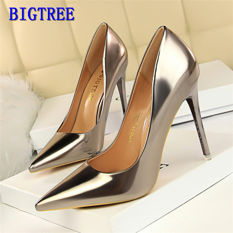 BIGTREE Patent Leather Woman Sexy Party High Heels Fashion Office Ladies Work Pumps Women Wedding Bridal Shoes