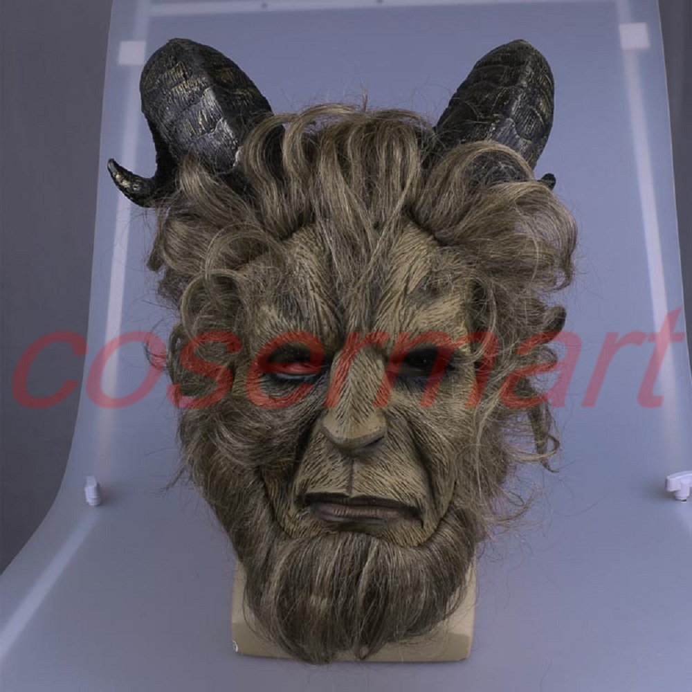 Cos Mask 2017 Hot Movie Beauty and the Beast Adam Prince Mask Cosplay Horror Mask Latex Helmet Halloween Party (2)
